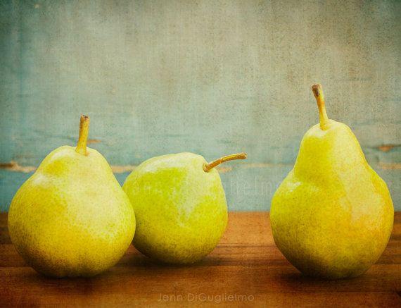 Still life Photography green pear print kitchen by JennDiGuglielmo