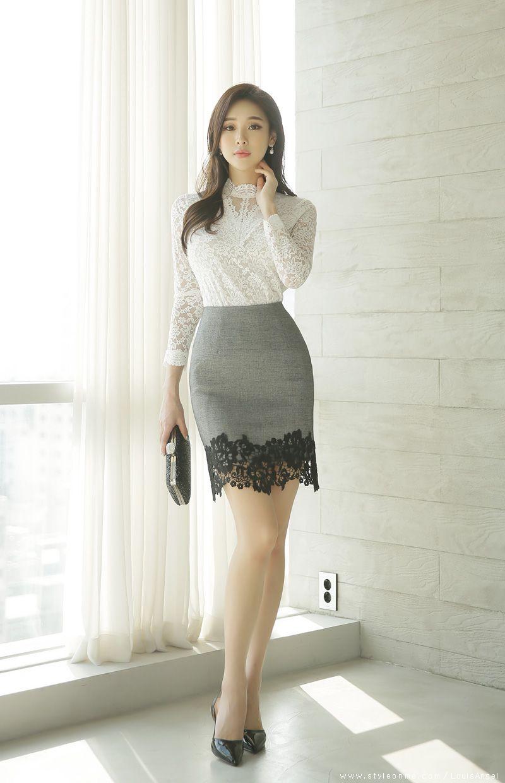 Floral Lace Hem Pencil Skirt  Asian fashion, Fashion, Fashion outfits