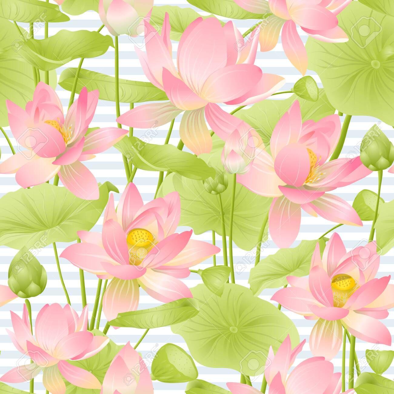 Lotus flowers seamless pattern. Vector illustration. On