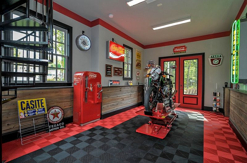 Garage Designs Interior Ideas dream motorcycle garages park your ride in style at night Coca Cola Decor Vintage Posters Coke Machines And Diy Ideas Garage Interiorgarage