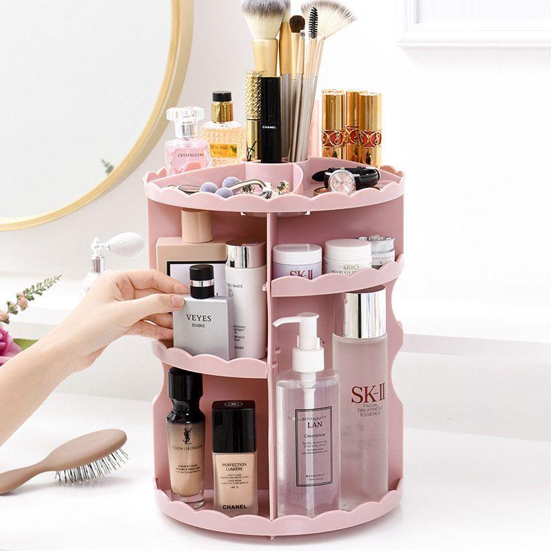 Rotatable Acrylic Cosmetic Case Bathroom Skin Care Plastic Storage