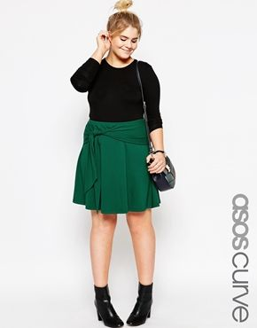 Clothing · ASOS CURVE Skater Skirt With Tie Front