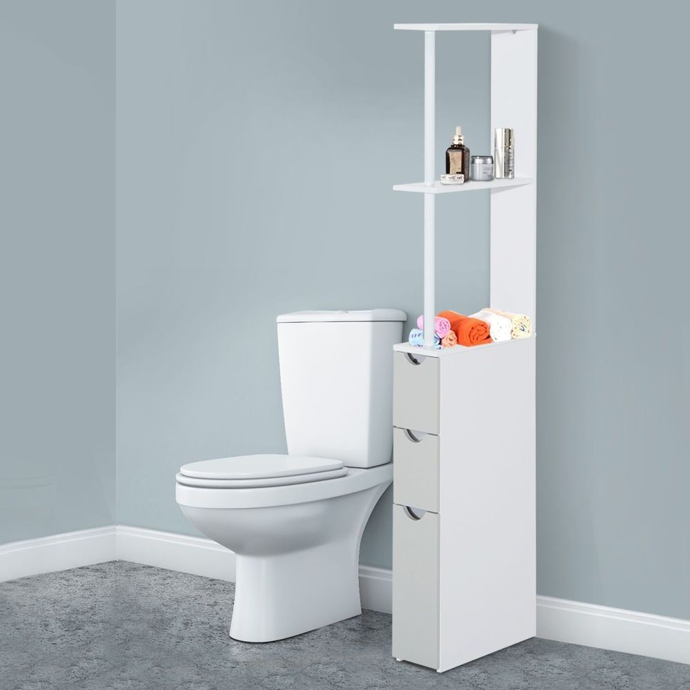 Bathroom Floor Storage Bath Furniture Cabinet Shelf Drawers Cupboard ...