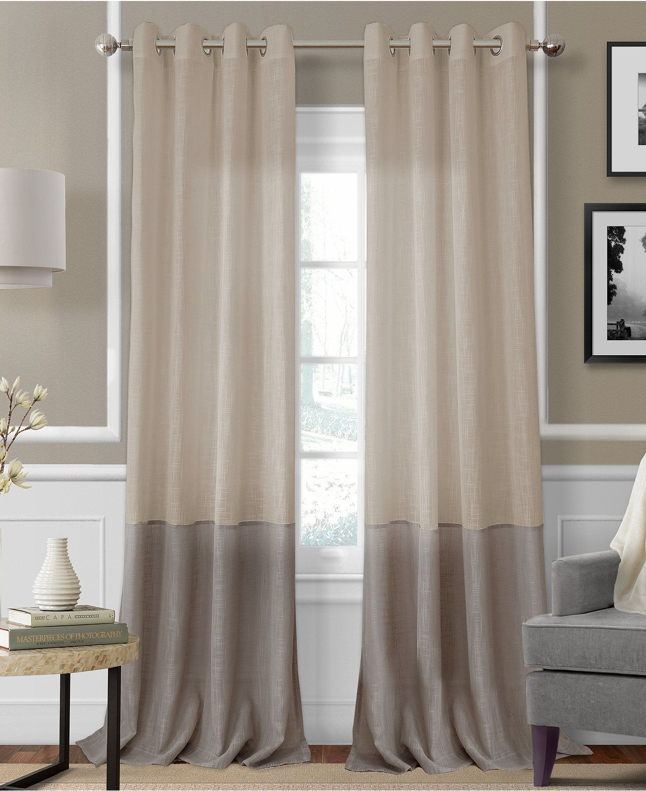 Melody Sheer Colorblocked 52 X 84 Panel Home Curtains Remodel