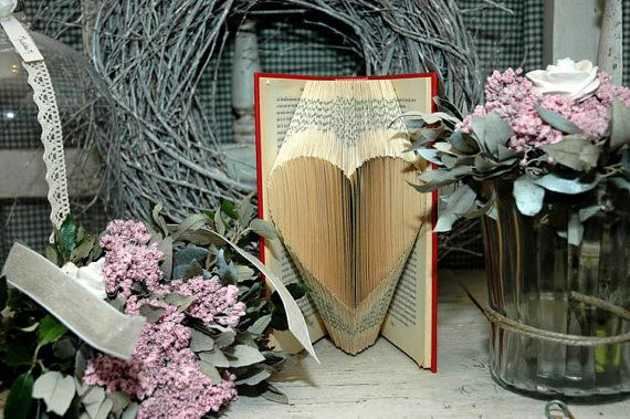 Folded Book Art HEART Symbol Hand crafted by Bookfolding