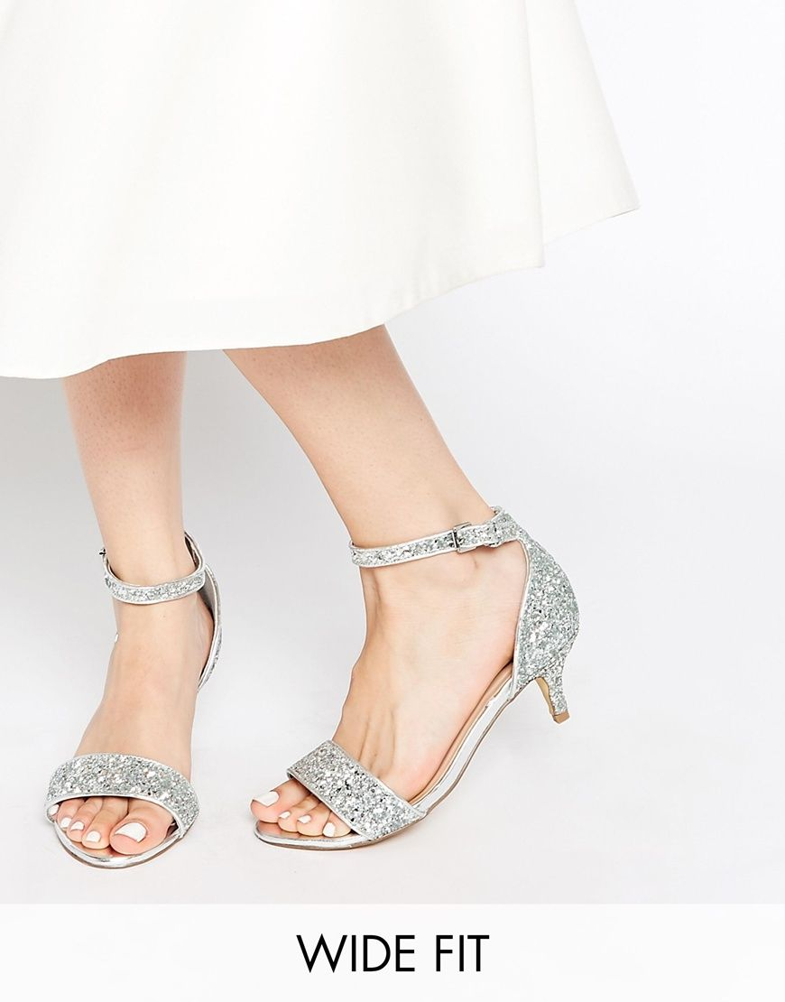 New Look Wide Fit Vista Silver Glitter Mid Heel Sandals | Shoes ...