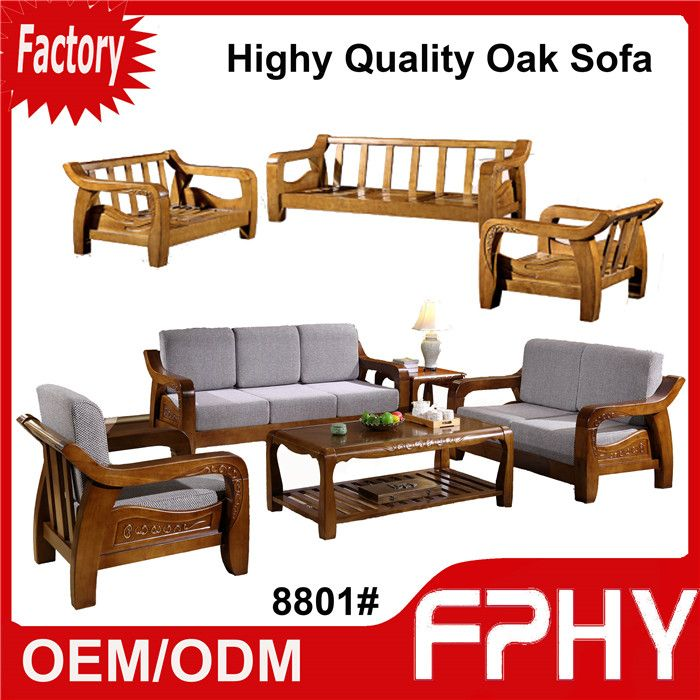 FPHY 8801 Oak Solid Wood Frame Fabrics Cushion Sectional Sofa Set Designs Modern L Shape