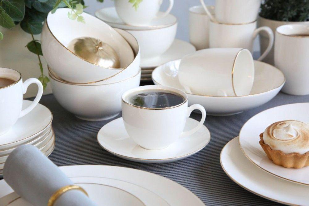 Zestaw Obiadowo Kawowy Dla 12 Osob Porcelana Kremowa Altom Design Bella Zlota Linia 60 Elementow Tea Cups Tableware Glassware