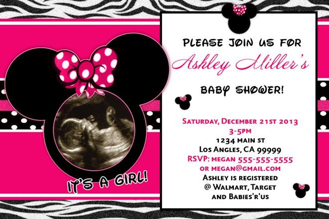 minnie mouse baby shower invitation- its a girl baby shower,