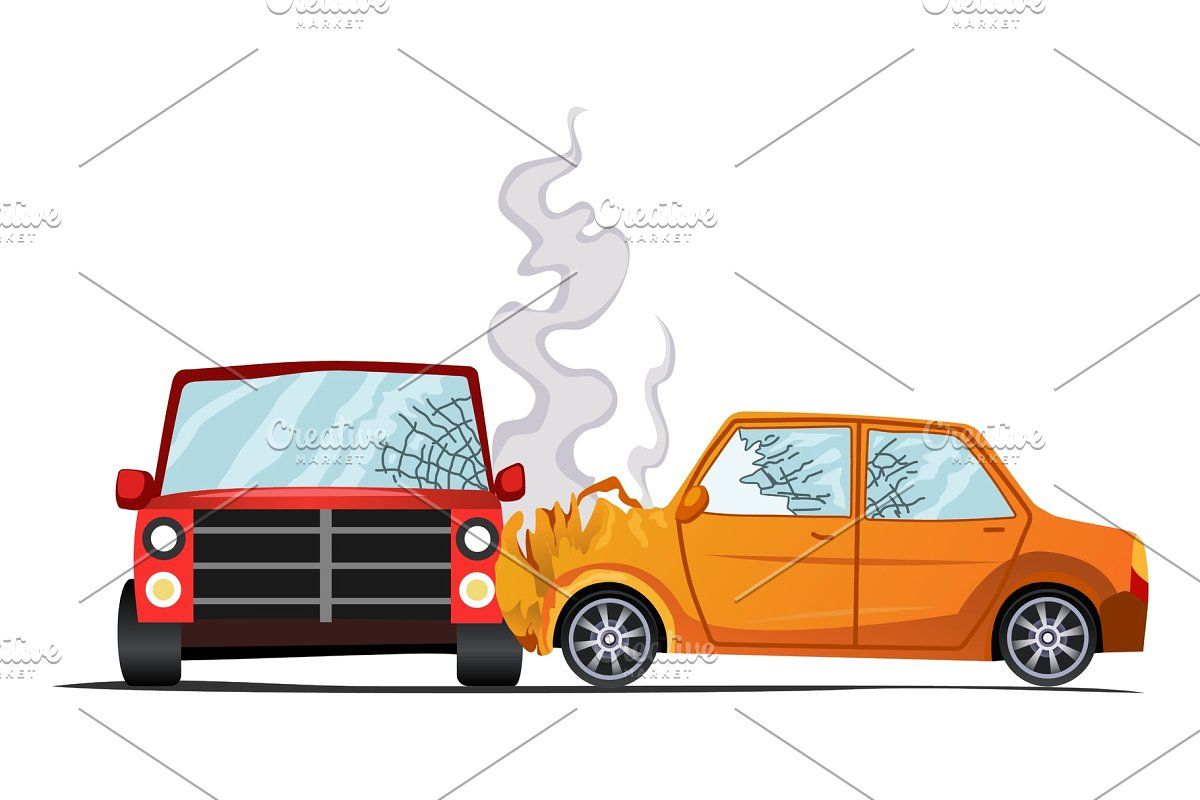 Accident On Road Car Damaged Car Illustration Accident Car Crash