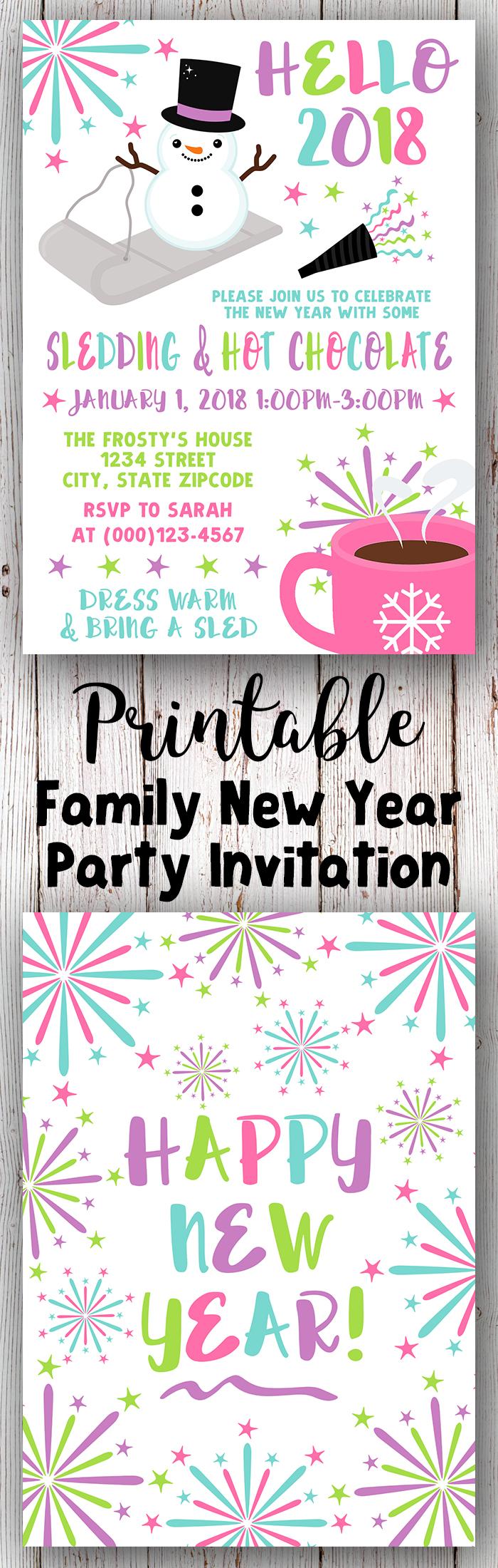 New Years Invitation, New Years Invite, New Years Party Invitation ...
