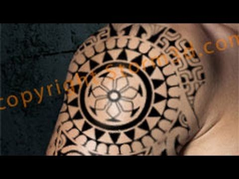 polynesian tribal shoulder tattoo with mask and sun design - youtube