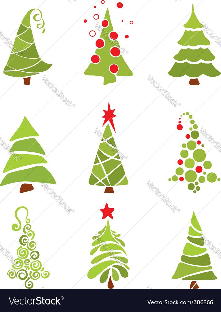 Christmas Trees Vector Image On Vectorstock Christmas Tree Drawing Christmas Drawing Christmas Tree Painting