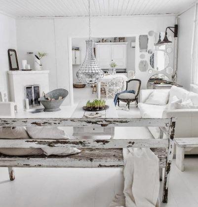 salon blanc rustique et chic blanc white pinterest. Black Bedroom Furniture Sets. Home Design Ideas
