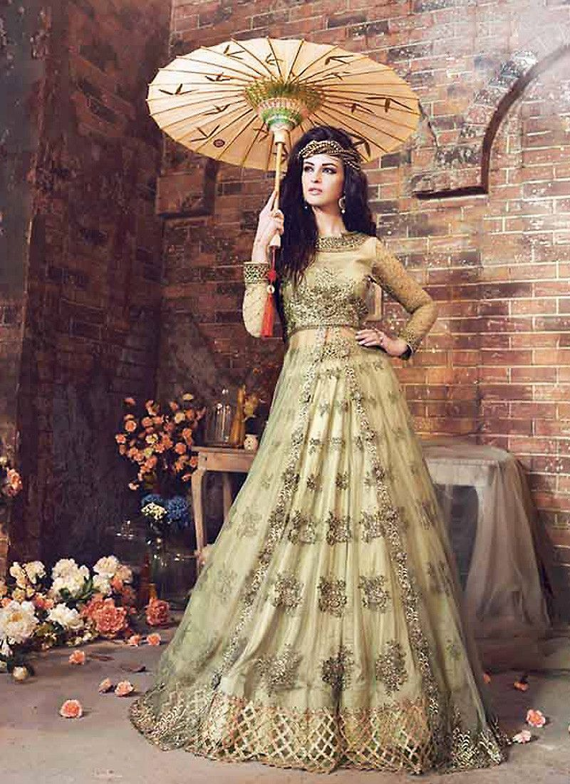 anarkali style green with embroidery work astounding