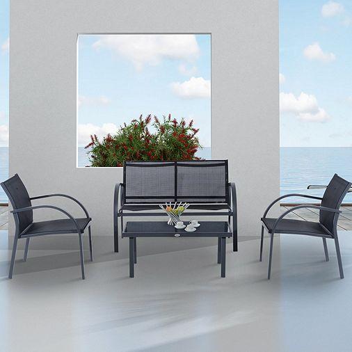 Tesco direct: Outsunny Outdoor Garden 4pc Sofa Set Patio Tables and ...