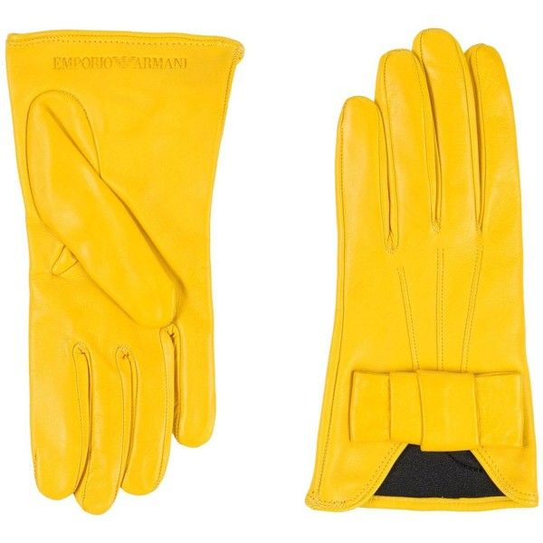 Emporio Armani Gloves ($92) ❤ liked on Polyvore featuring accessories, gloves, yellow, yellow gloves, bow glove, emporio armani and lambskin gloves