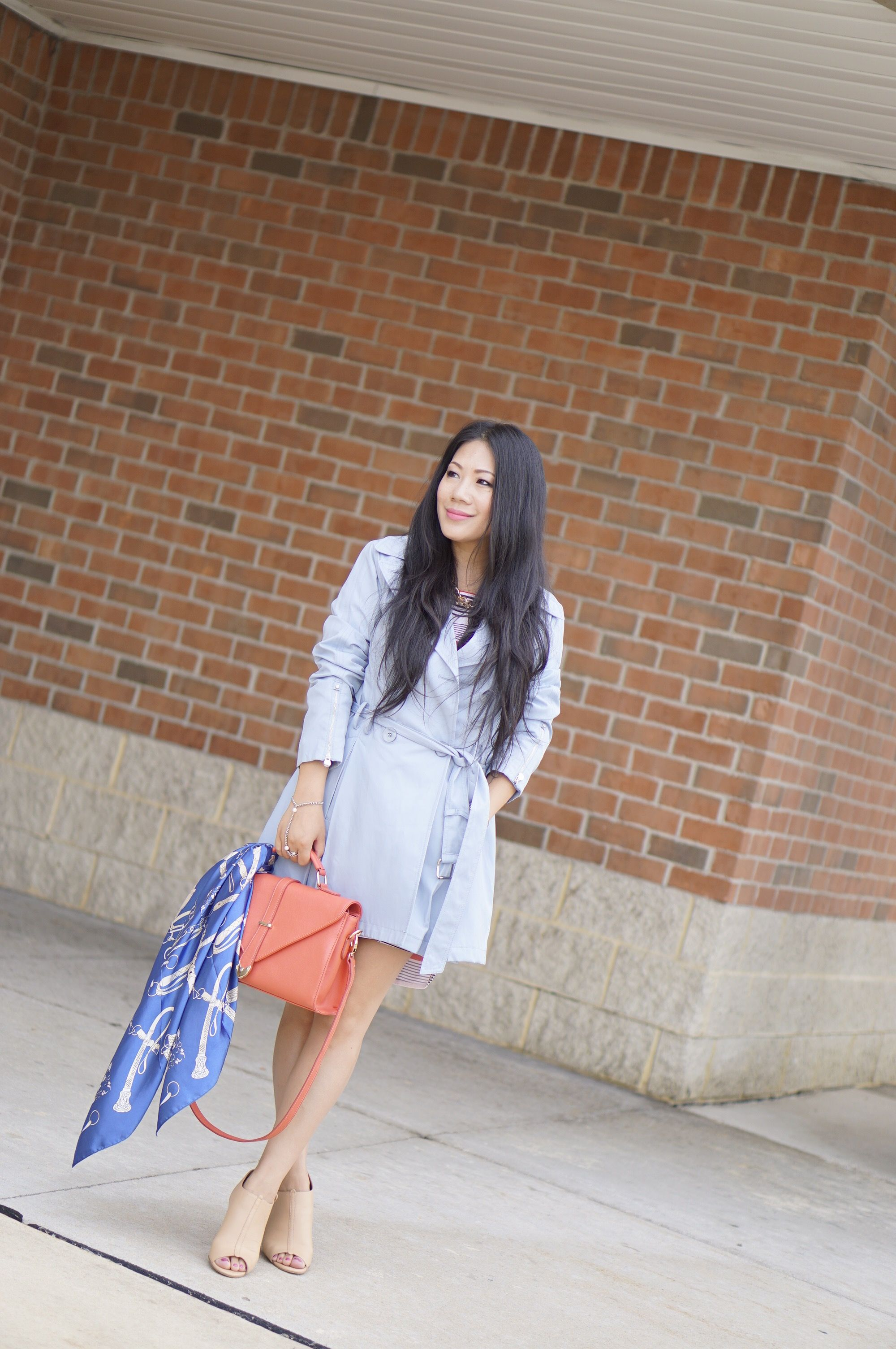 laundry light blue trench coat +tripped shift dress+Charles nude peek toe booties