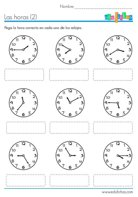 Resultado de imagen para hoja de trabajo de el tiempo en matemáticas ...