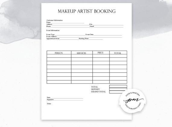 Editable Makeup Artist Business Planner Bundle, Freelance Makeup Artist Forms, Makeup Booking, Wedding Makeup Artist Contact Template