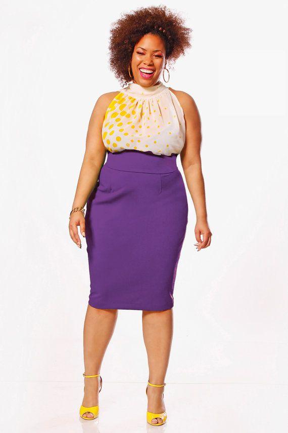 JIBRI Plus Size High Waist Pencil Skirt by jibrionline on Etsy ...
