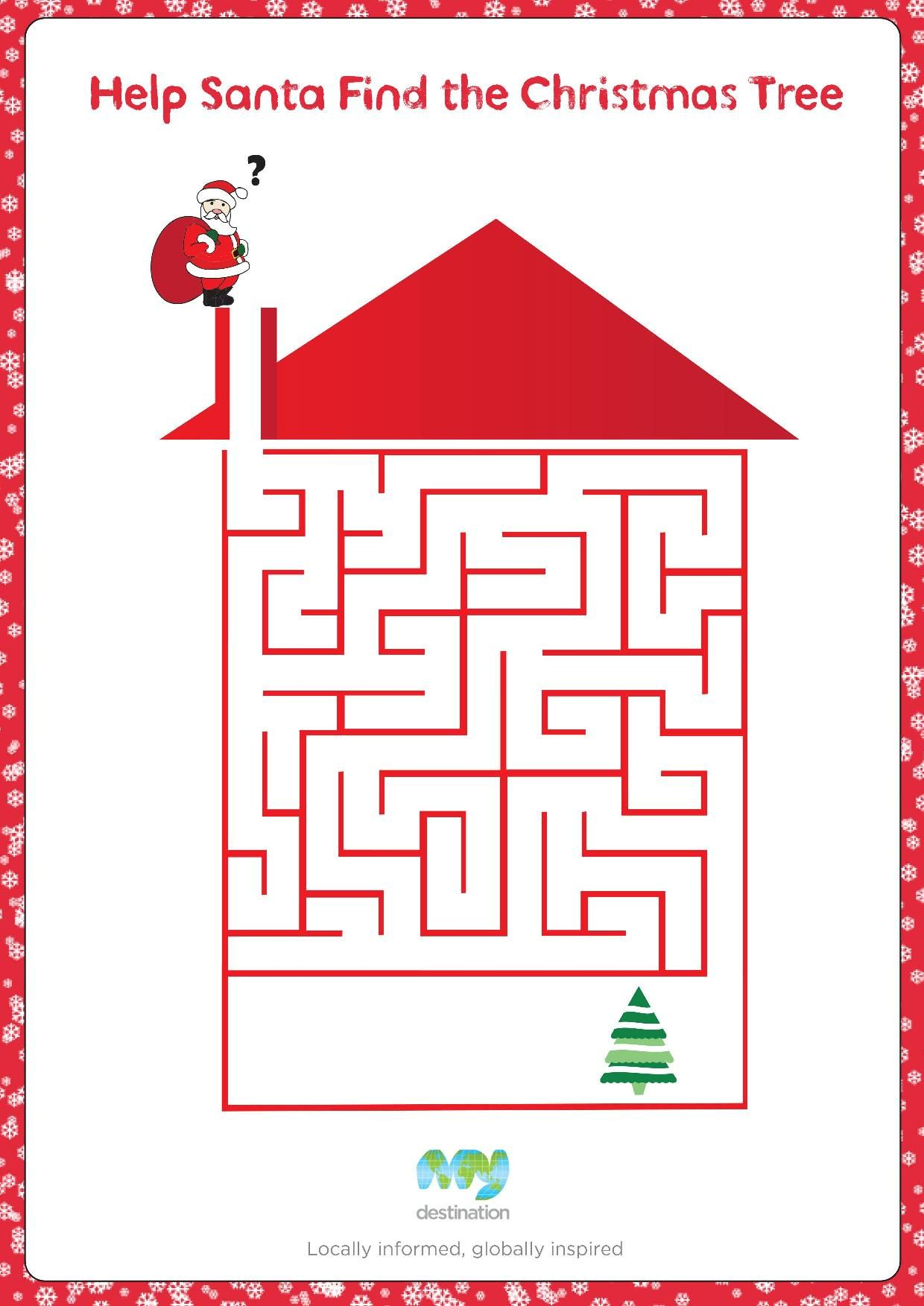 Help Santa Down the Chimney Maze. Download this puzzle for free at ...