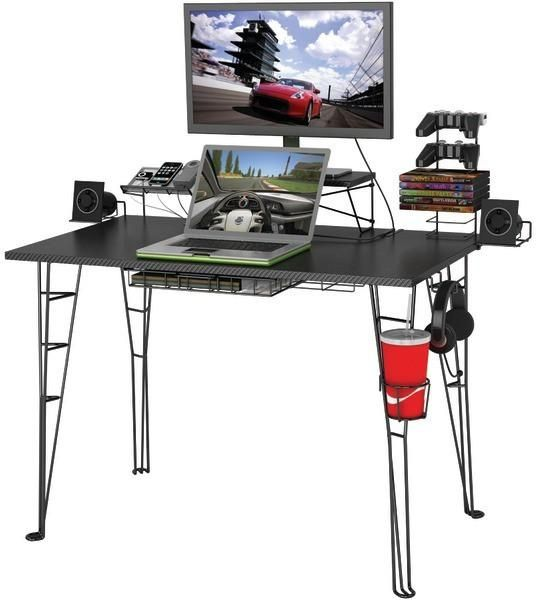 Atlantic - Gaming Desk Cable management system Nonmarring feet Steel rod construction Easy assembly Accessories include charging station, speaker trays, storage