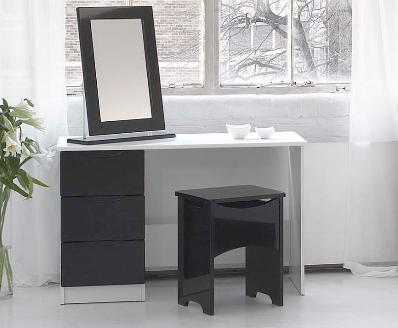Vogue High Gloss Dressing Tables White Or Black Colour Finishes Dressing Table Bedroom Collections Furniture Home Decor
