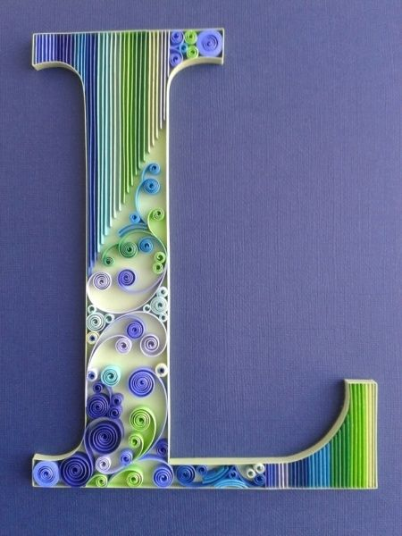 lettre quilling Nice and modern looking. Love the green and blue together  lettre quilling