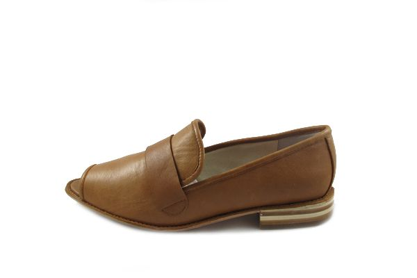 edie, natural, leather, brown shoes, preppie, loafer, peekaboo toe,