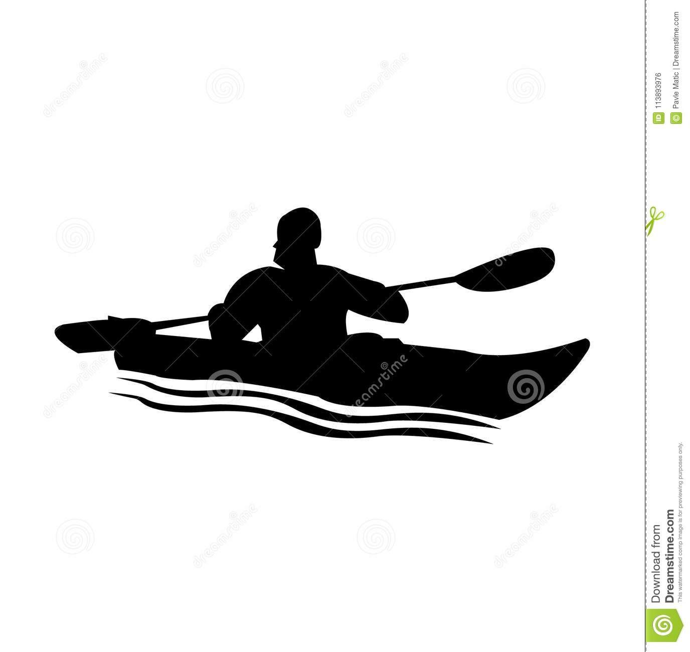 Person In A Kayak Silhouette Stock Vector Illustration Of River