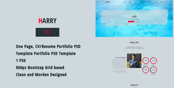 Harry  CvResume Portfolio Psd Template  Portfolio Creative