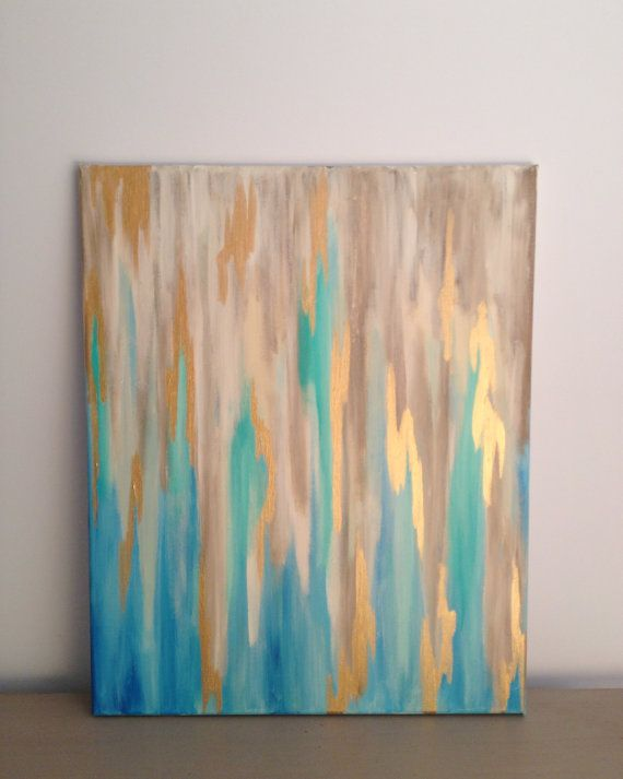 Blue/Gold Abstract on 16 x 20 Stretched Canvas on Etsy, $50.00