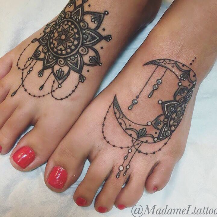 100 Gorgeous Foot Tattoo Design You Must See: Fancy Moon Mandala Tattooed Feet