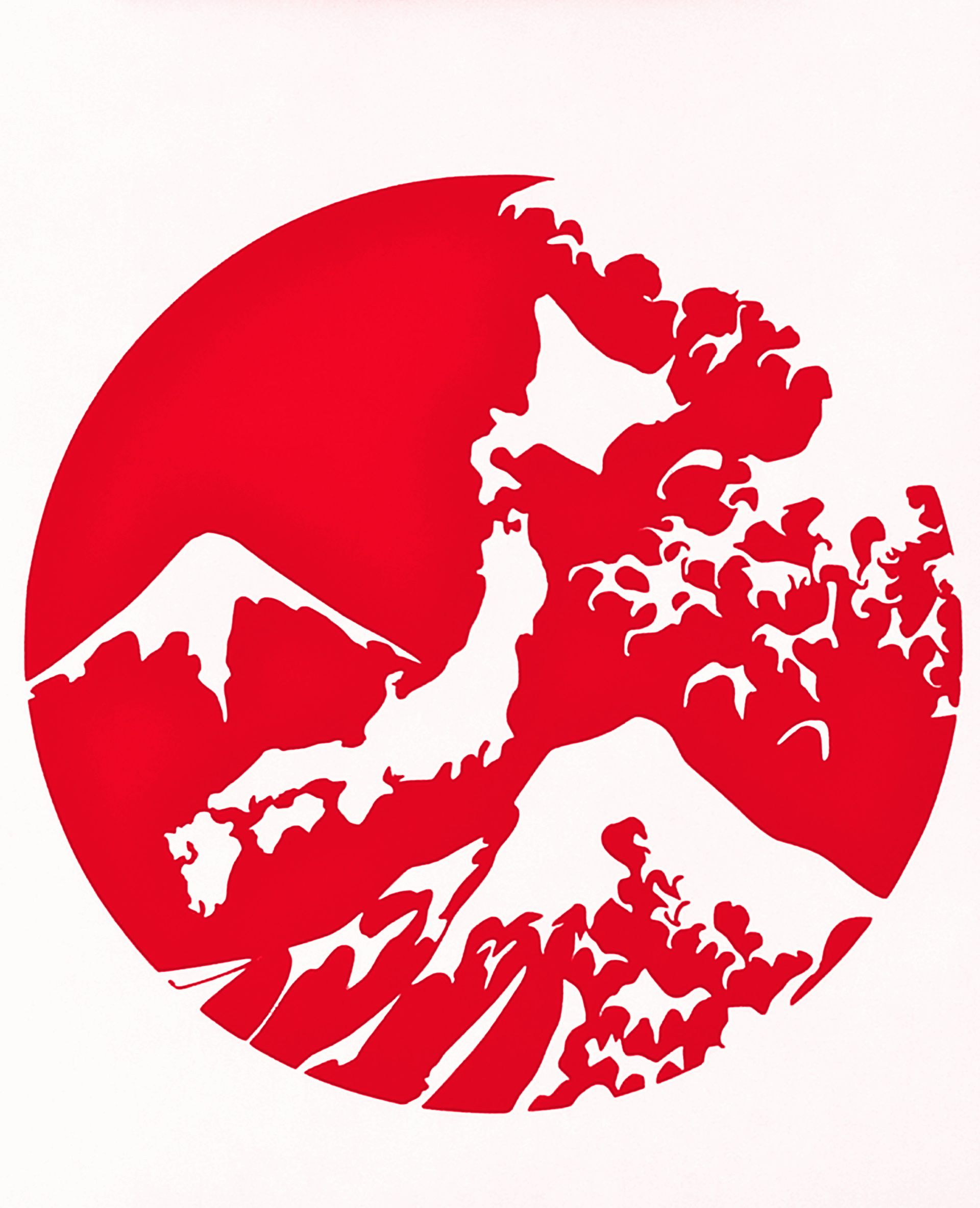 Red japanese mountain vinyl decal flag japanese culture history science