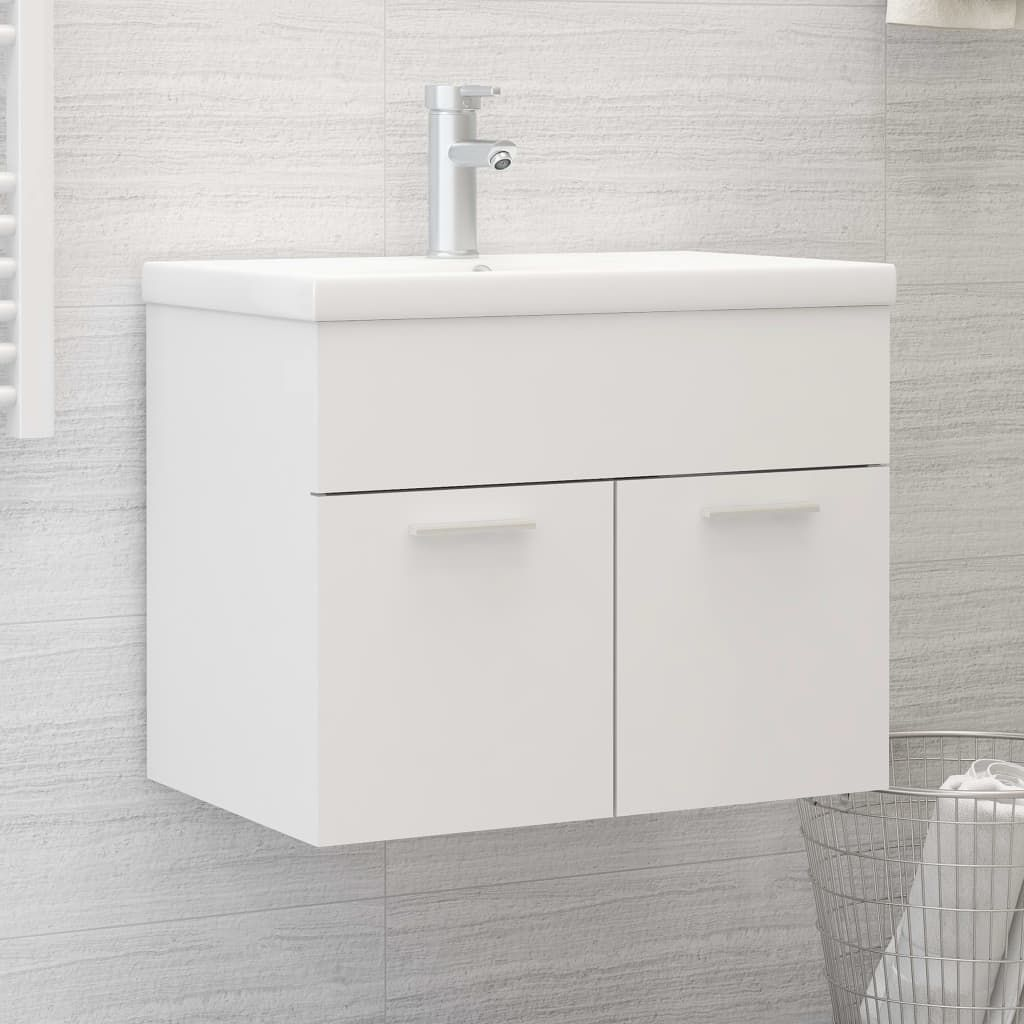 Sink Cabinet with Built-in Basin White Chipboard