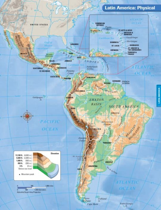Latin America physical map | Latin America | Latin america map ...