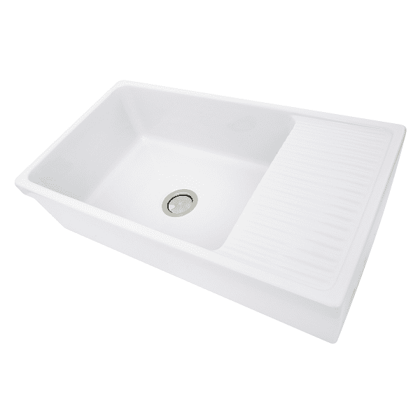 Nantucket Fcfs36 Db 36 Fireclay Farmhouse Sink White With Drainboard Sink Farmhouse Sink Kitchen Fireclay Sink