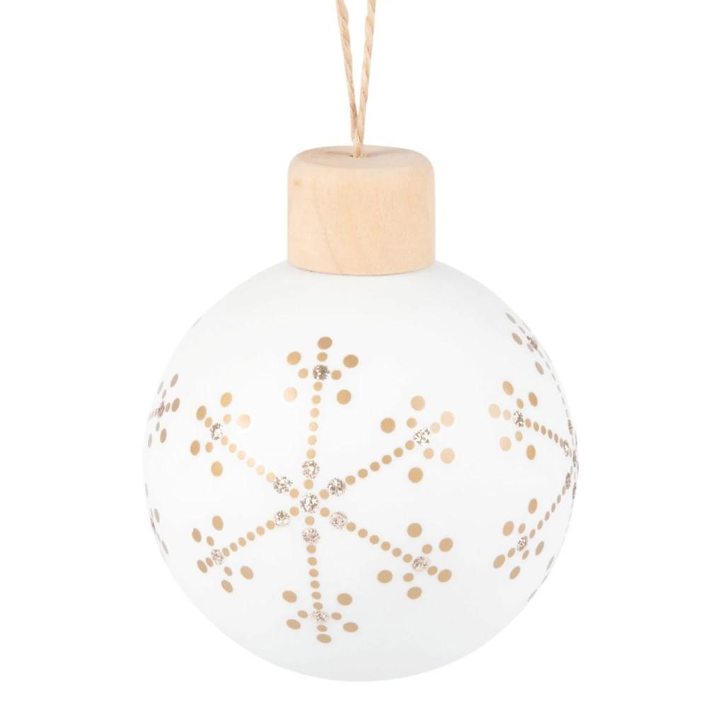 Bola De Navidad Blanca Con Estampado De Copos De Nieve Dorados Maisons Du Monde