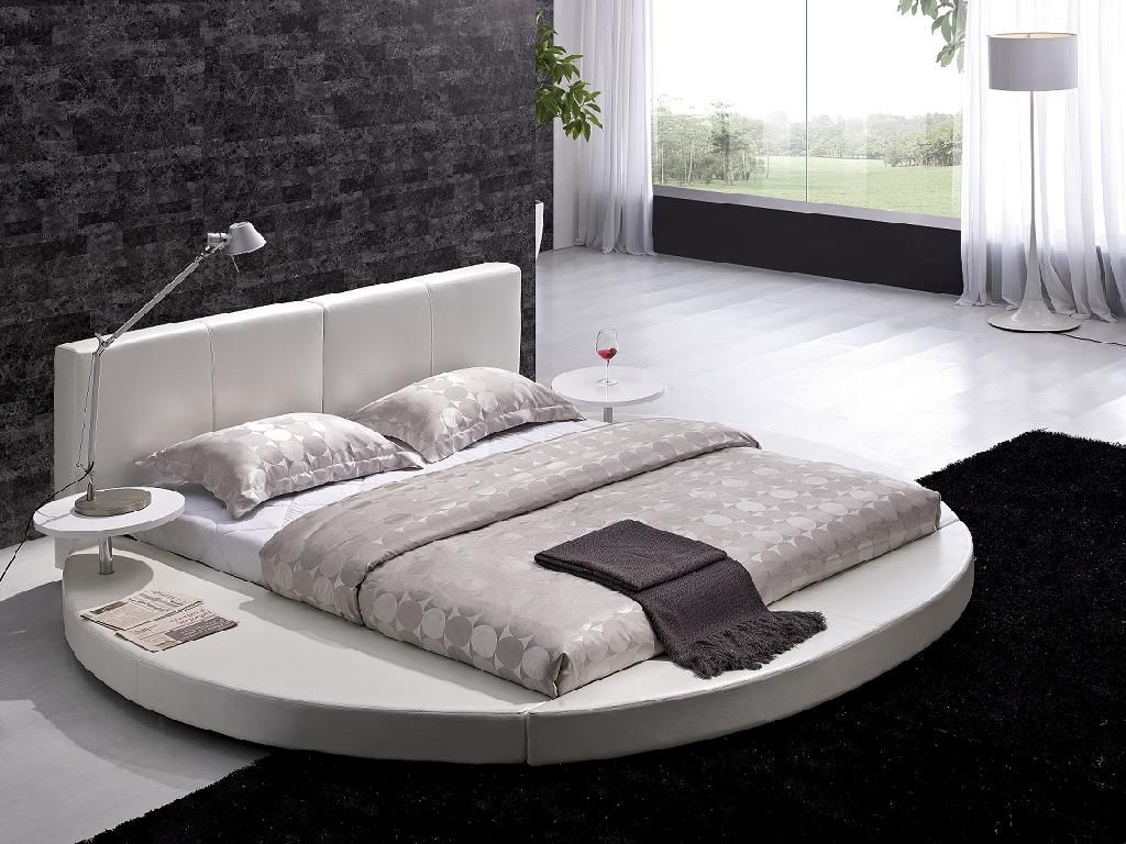 Modern Style Bedroom Furniture Vilenno King Size Modern Style Round Leather Platform Bed White