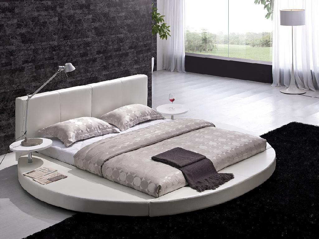 Modern Style Bedroom Furniture Vilenno King Size Modern Style Round Leather Platform Bed White