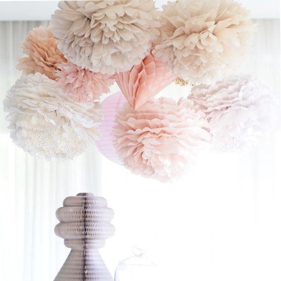 Erroten Papier Pom Pom S Satz Von 16 Staubige Rosa Papierkugeln Erroten Hochzeit Dekor Papierblumen Altrosa Hochzeit Papier Pompons Und Rosa Papier