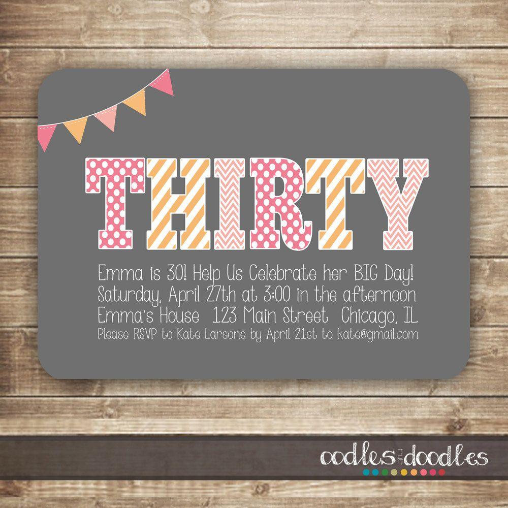 30th Birthday Invitation Thirty 40th 50th By OandD 1500 Invitations