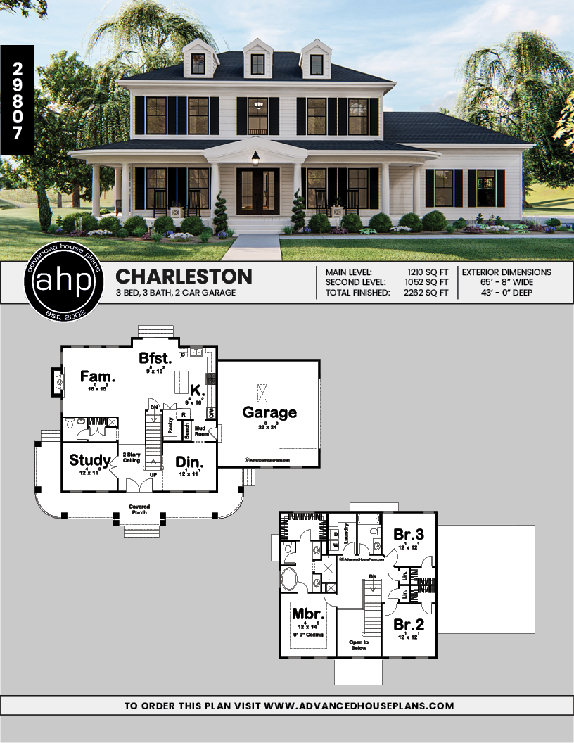 2 Story Southern Style House Plan Charleston Colonial House Plans Colonial House Exteriors Craftsman House Plans