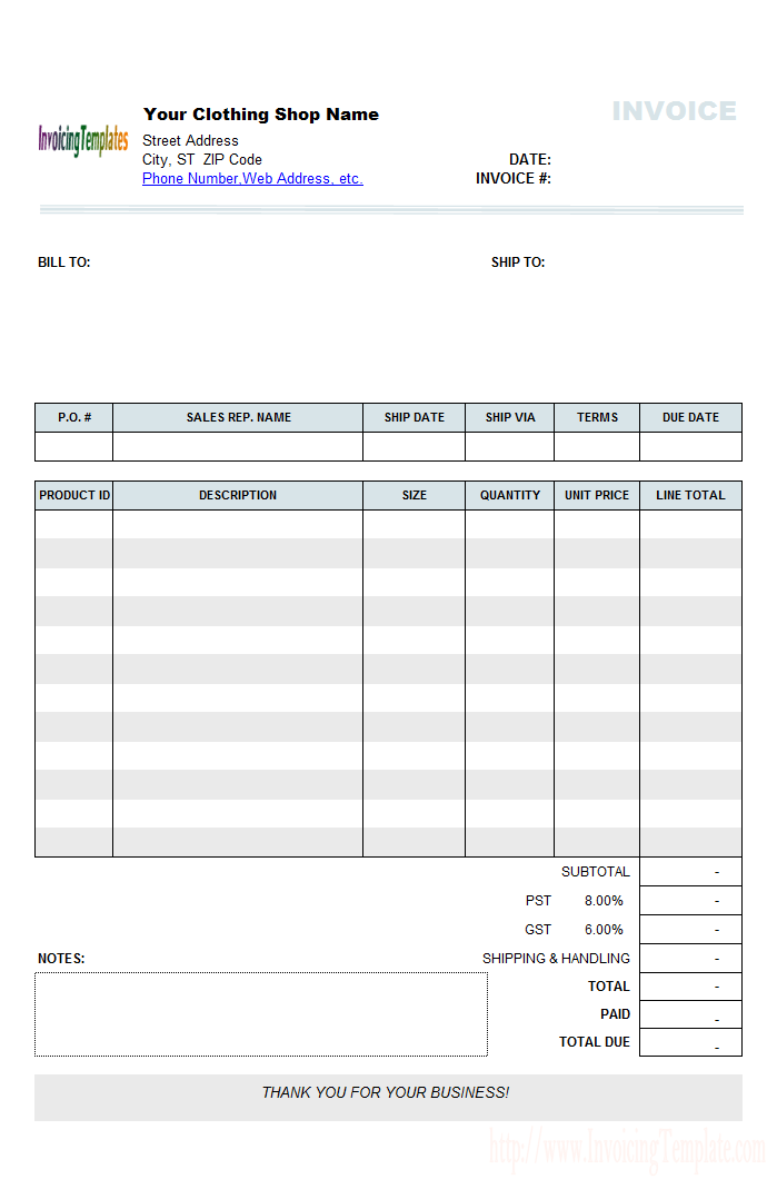 C6001 Print Result Invoice Template Word Invoice Template Notes Template