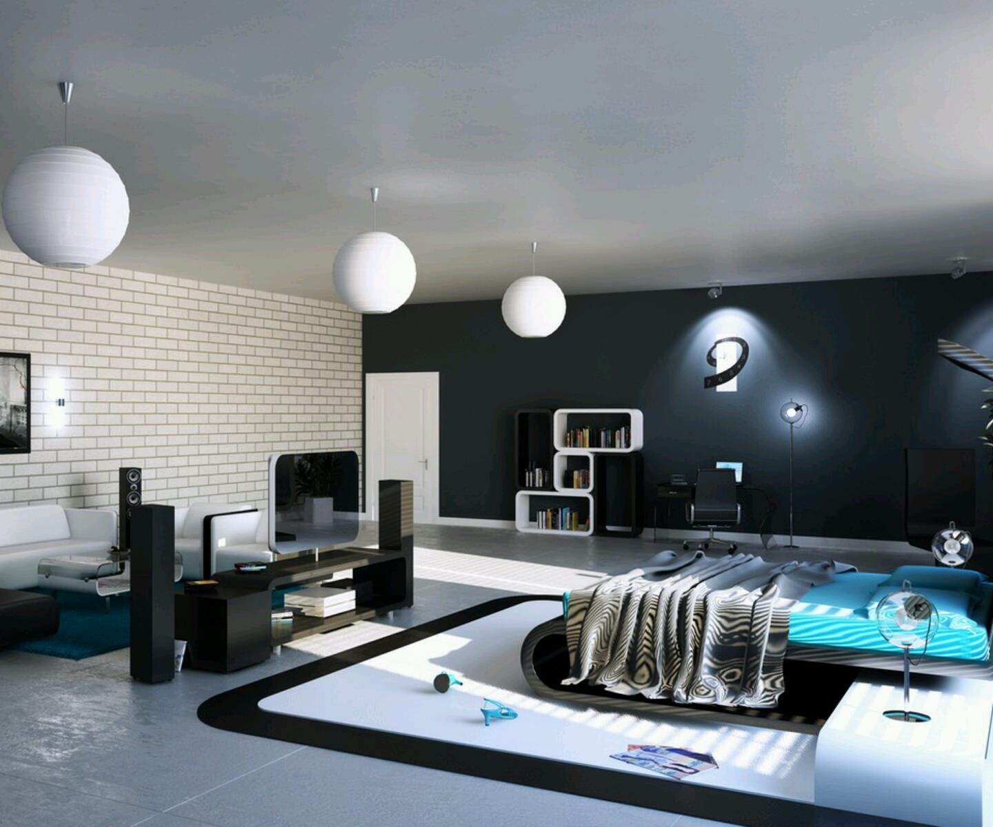 Blue modern master bedroom - Stunning Modern Bedroom Furniture Involving Blue Bed Between
