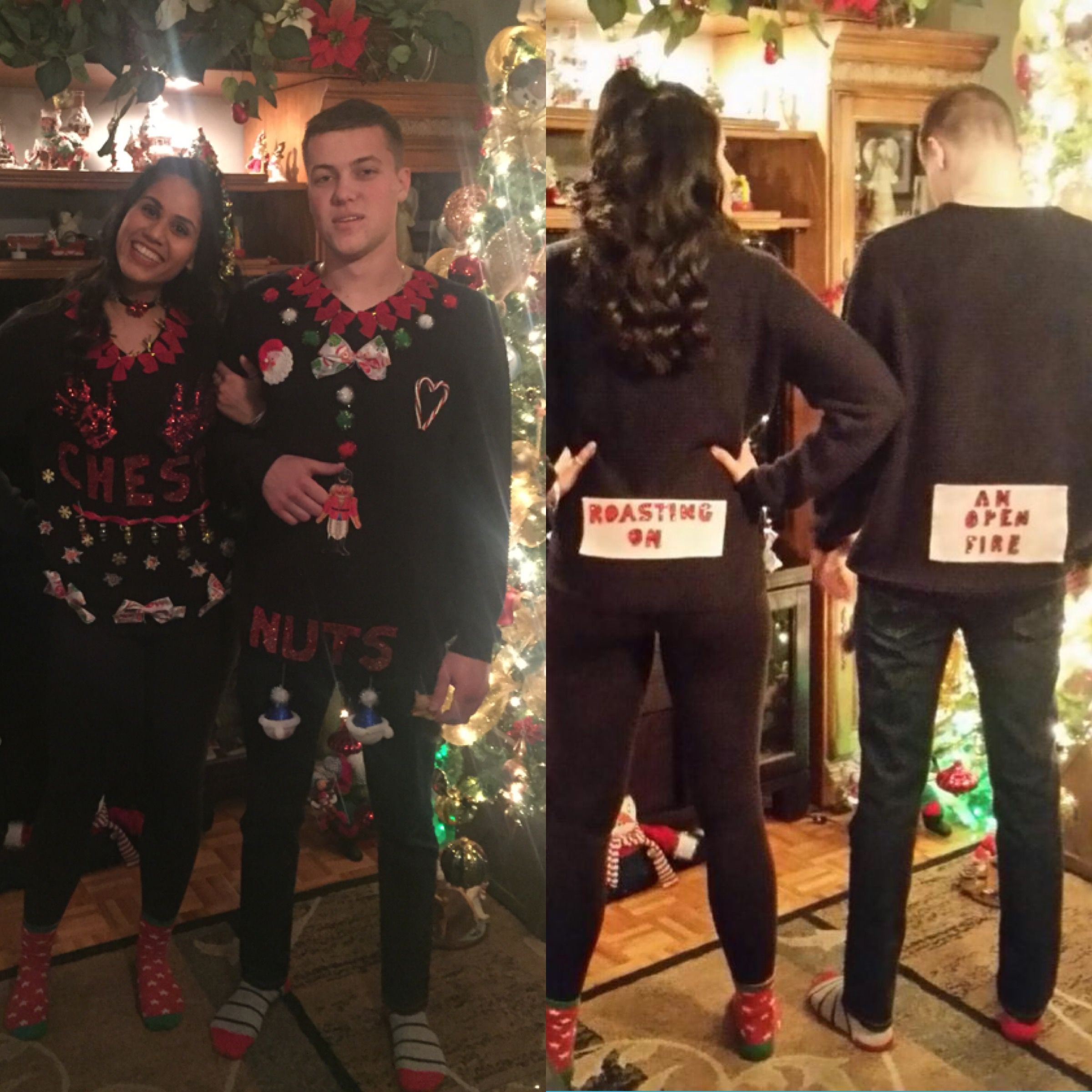 Ugly Christmas Sweater Party Adult Snow Man Woman Couple Holiday