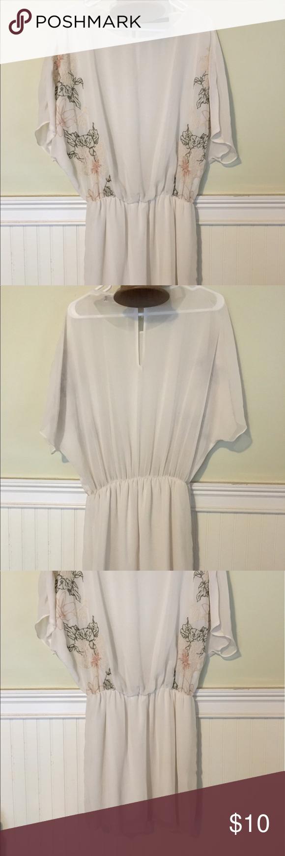 Zara Sheer White Dress With Flower Detail