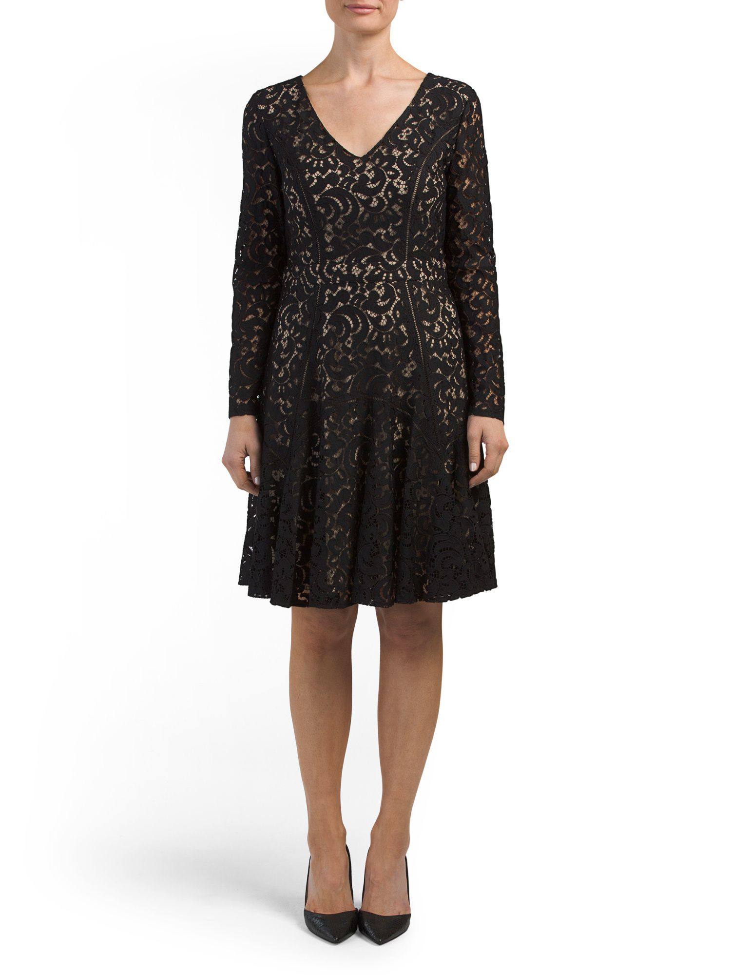 Claire long sleeve v neck lace dress products pinterest products