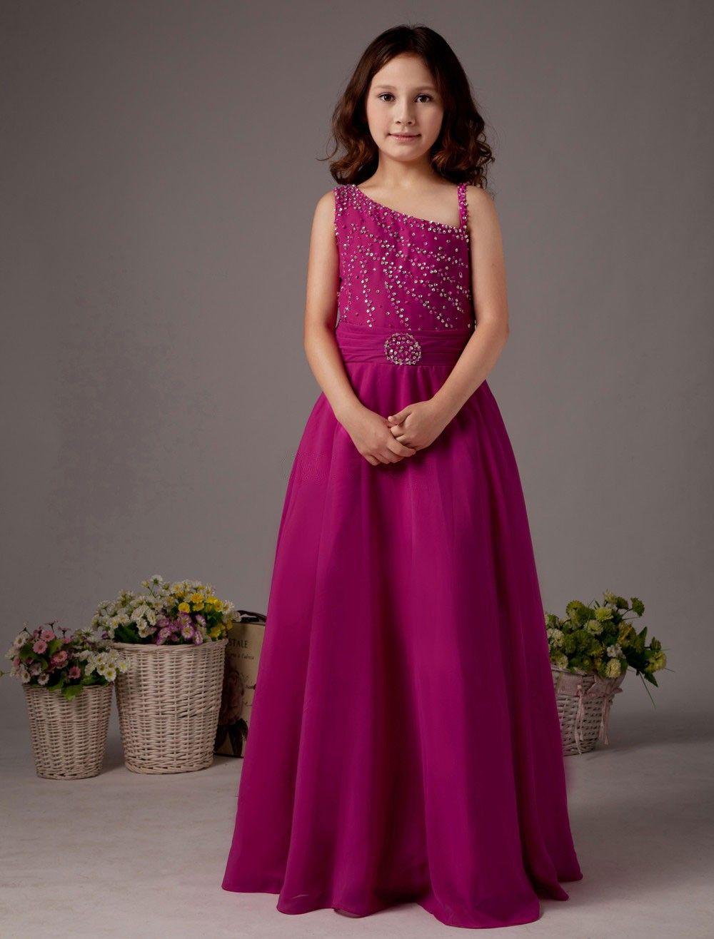 Sweet red chiffon one shoulder floor length little girlus dress